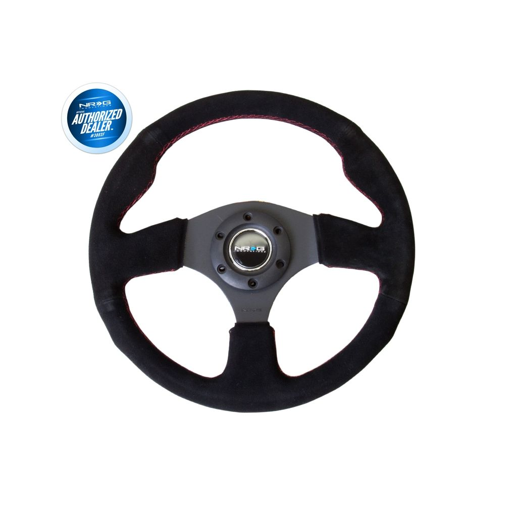 NRG ® - Sport Race Black Suede Steering Wheel with Red Stitching (RST-012S-RS)