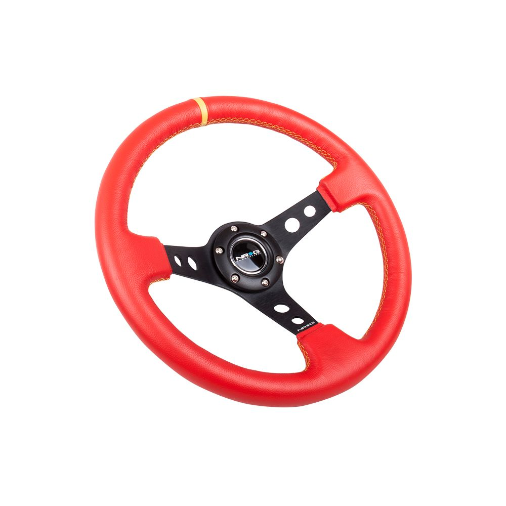 NRG ® - Sport Red Leather Steering Wheel 3 Inch Deep with Yellow Stitching and Marking (ST-006RR-YS-Y)