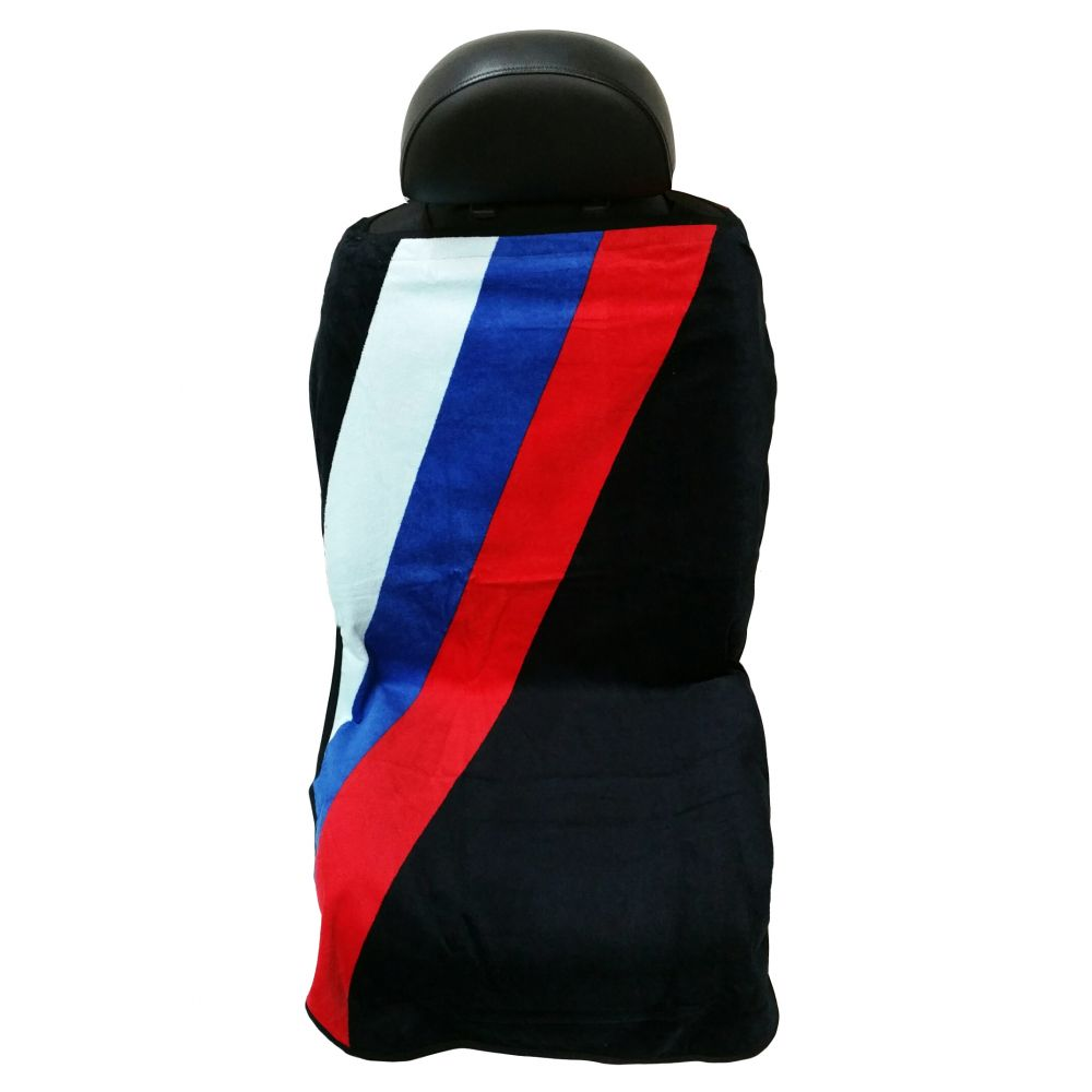 Seat Armour ® - Black Towel Seat Cover with BMW Three Stripes (SA100STRIPE)