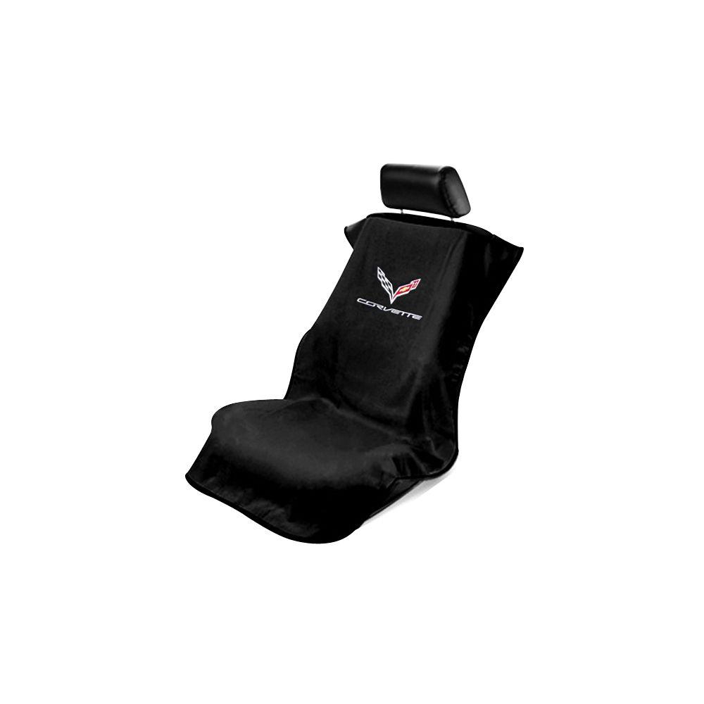 Seat Armour ® - Black Towel Seat Cover with Corvette C7 Logo (SA100COR7B)