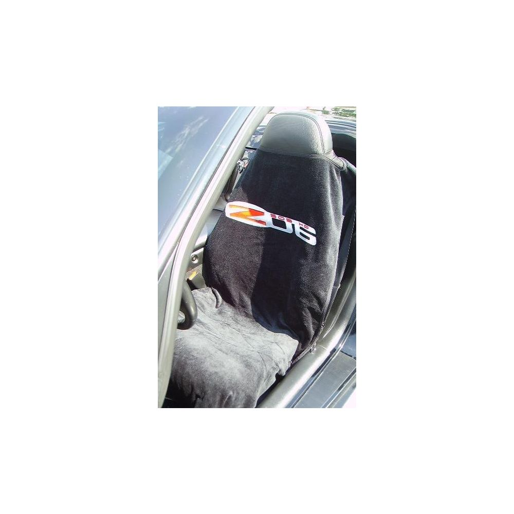 Seat Armour ® - Black Towel Seat Cover with Corvette Z06 Logo (SA100COR6ZB)