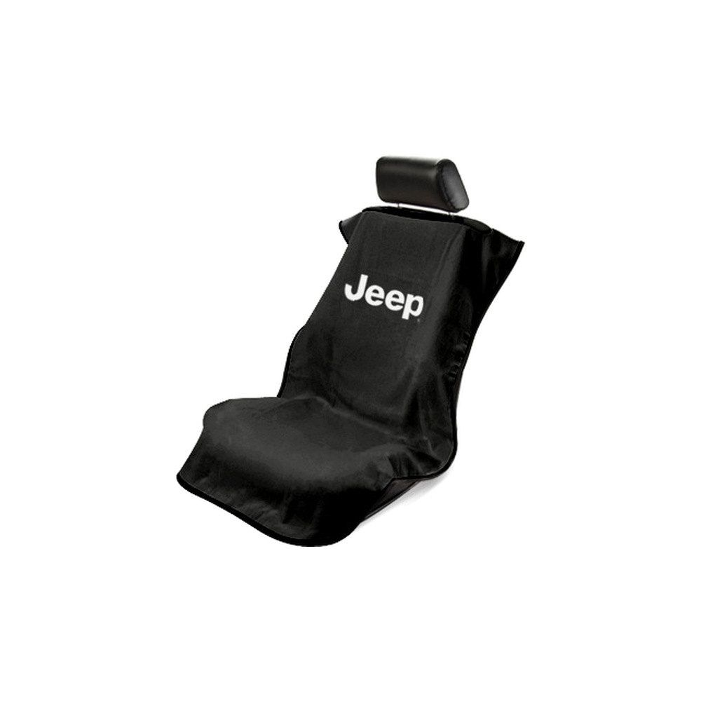 Seat Armour ® - Black Towel Seat Cover with Jeep Letters Logo (SA100JEPB)
