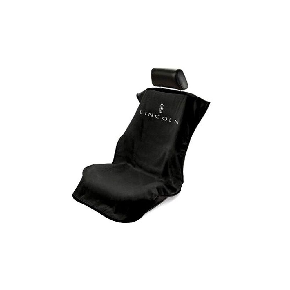 Seat Armour ® - Black Towel Seat Cover with Lincoln Logo (SA100LINB)