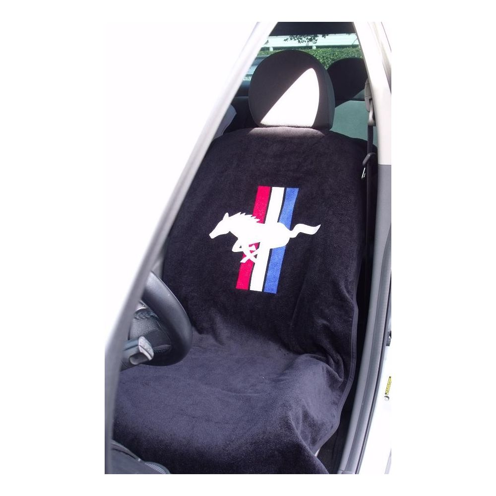 Seat Armour ® - Black Towel Seat Cover with Mustang Pony Logo (SA100PONB)