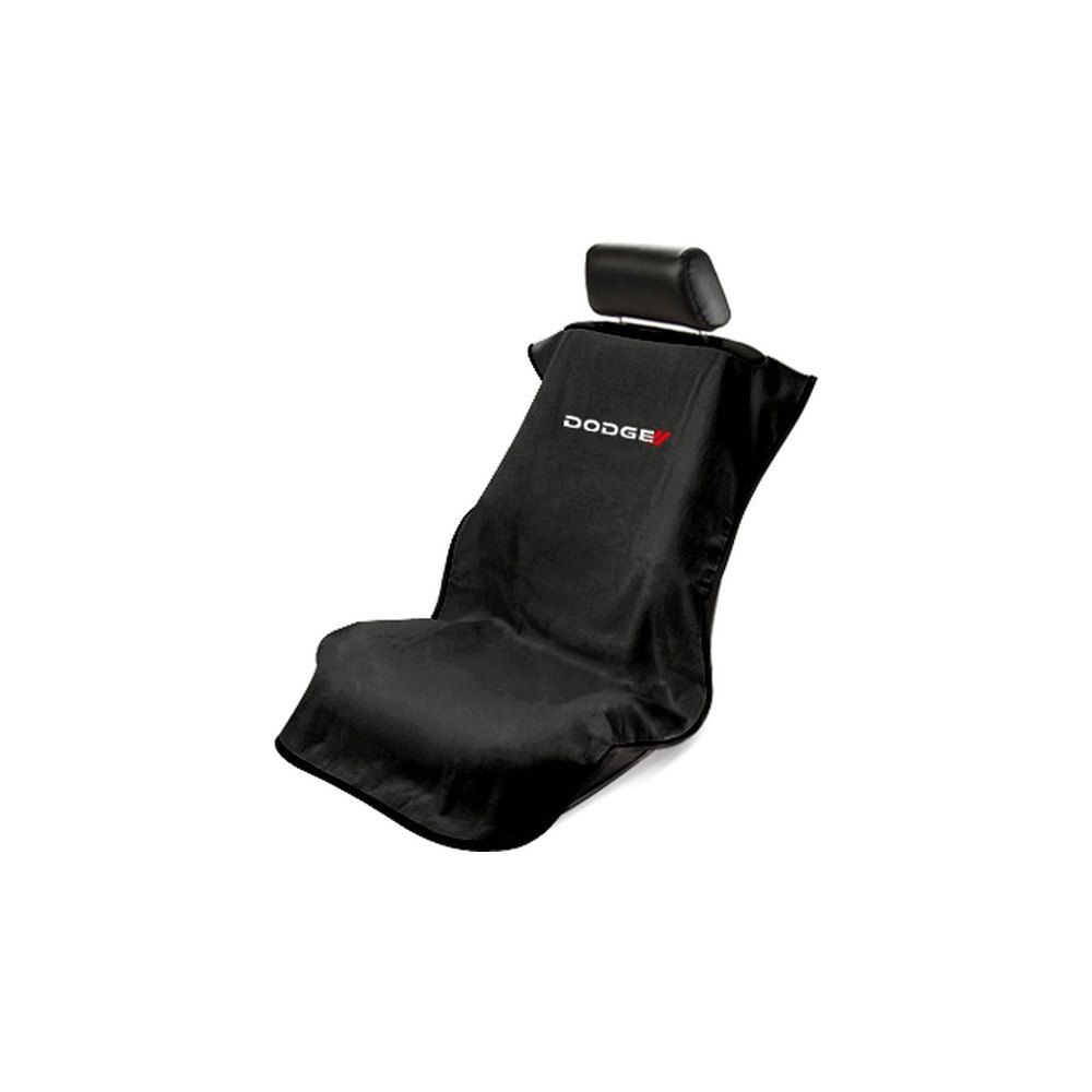 Seat Armour ® - Black Towel Seat Cover with New Dodge Logo (SA100NDODB)
