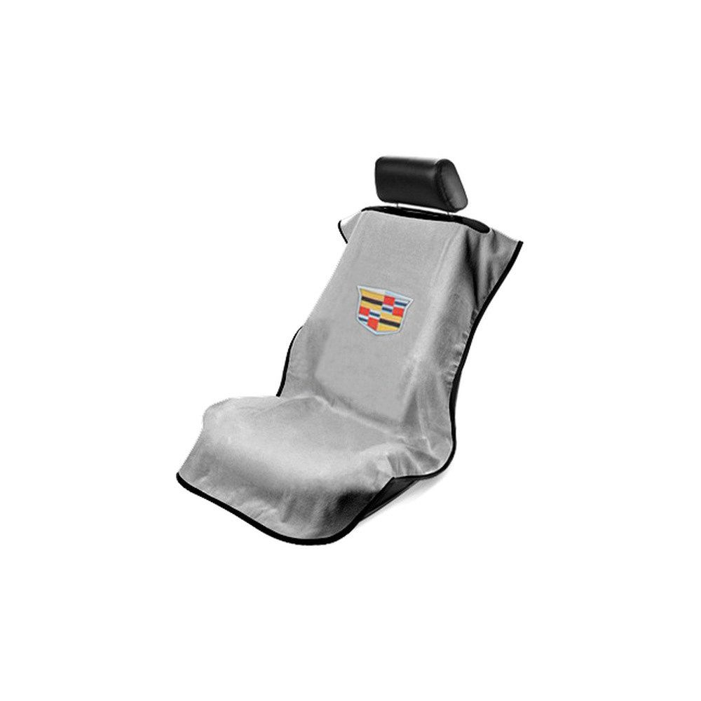 Seat Armour ® - Grey Towel Seat Cover with New Cadillac Logo (SA100NCADG)