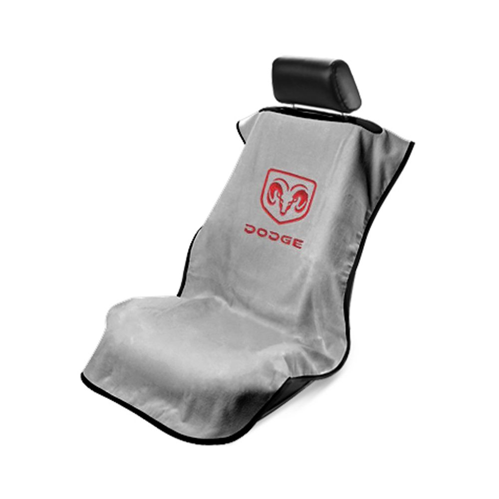 Seat Armour ® - Grey Towel Seat Cover with Dodge Logo (SA100DODG)