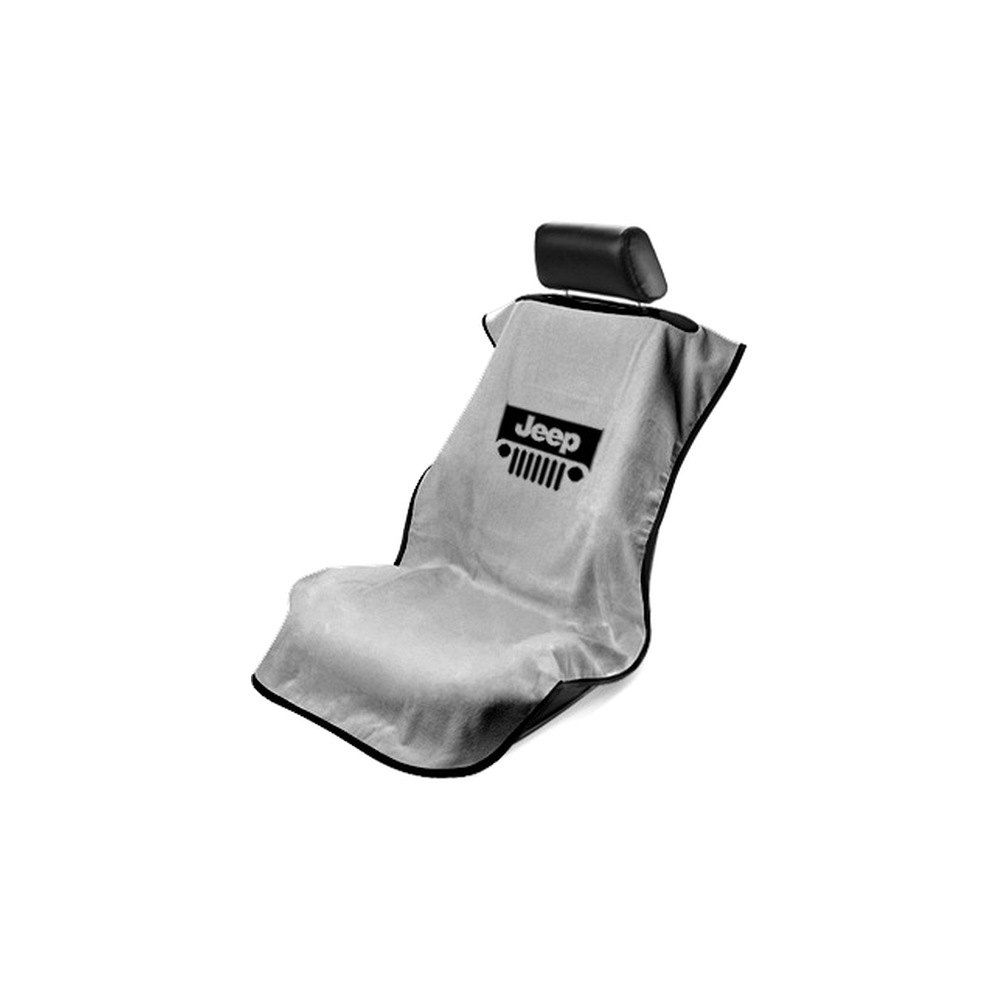 Seat Armour ® - Grey Towel Seat Cover with Jeep with Grille Logo (SA100JEPGG)