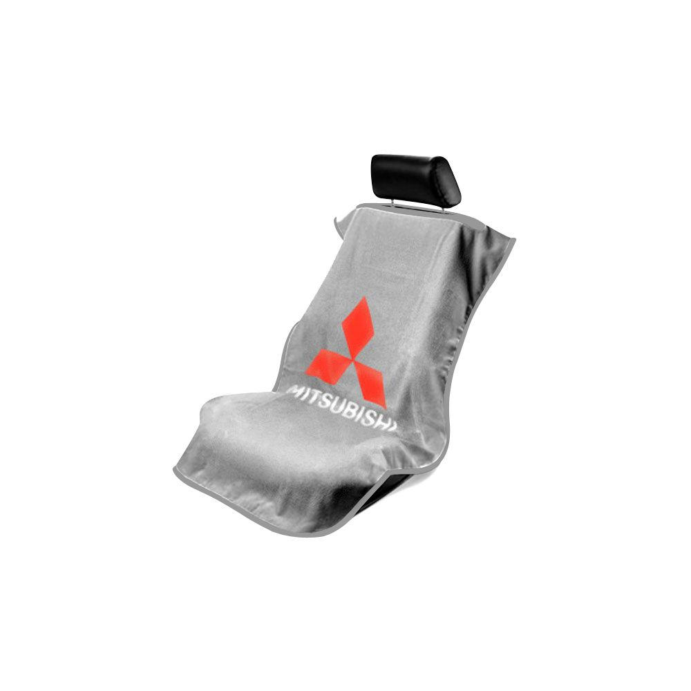 Seat Armour ® - Grey Towel Seat Cover with Mitsubishi Logo (SA100MITG)