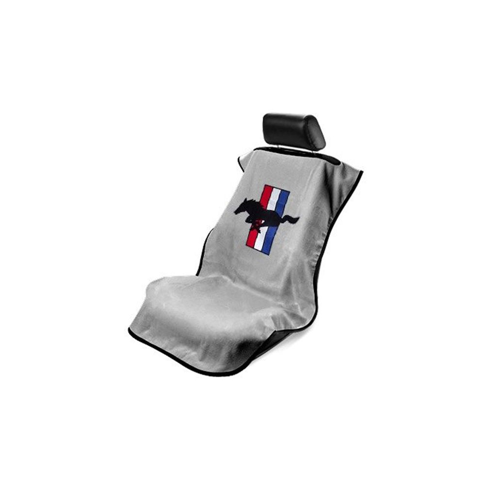 Seat Armour ® - Grey Towel Seat Cover with Mustang Pony Logo (SA100MUSG)