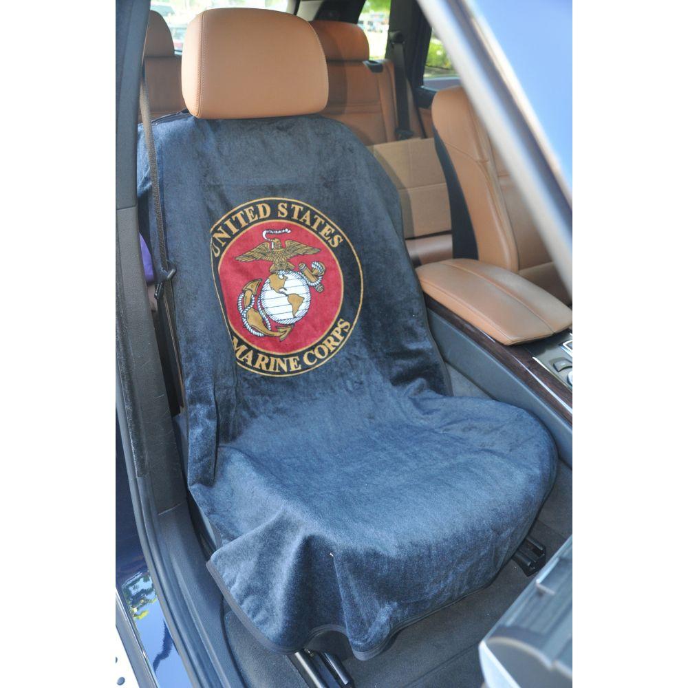 Seat Armour ® - Marine Blue Towel Seat Cover with US Marines Logo (SA200USMAR)