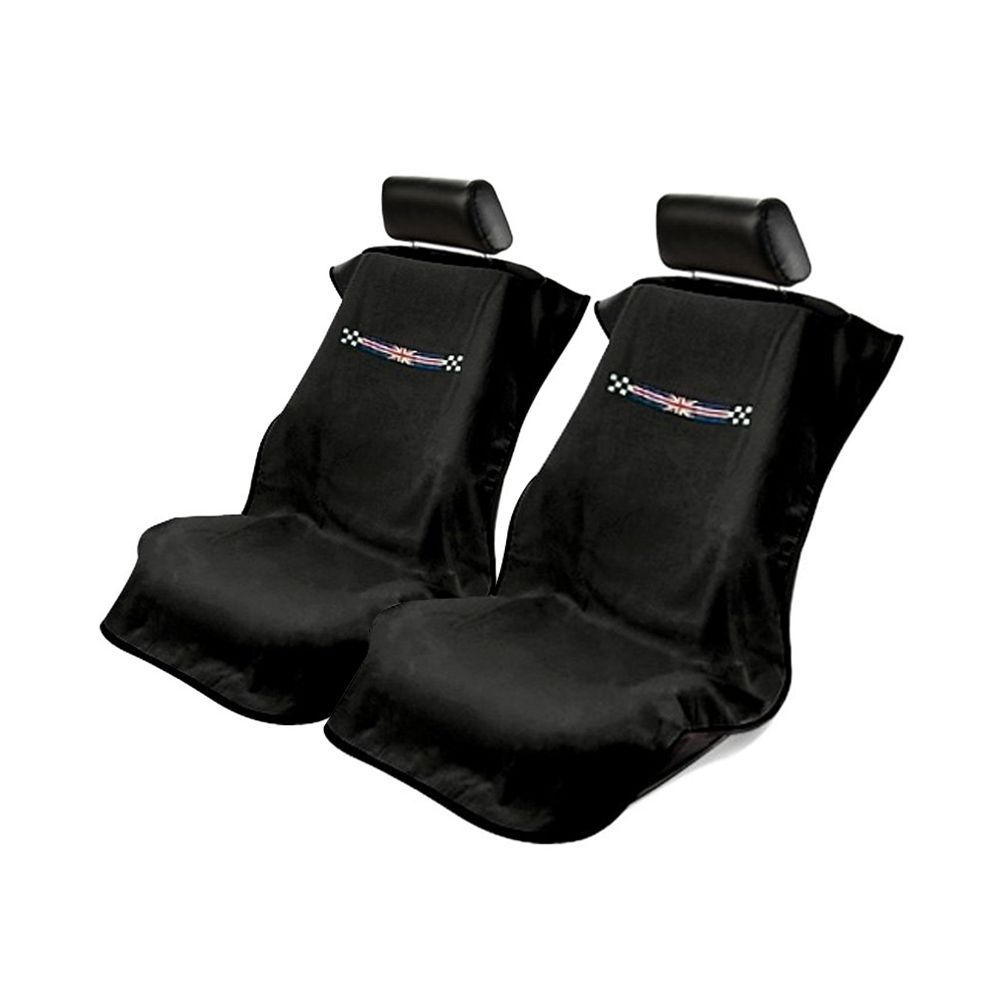 Seat Armour ® - Pair of Black Towel Seat Covers with British Checkered Flag (SA100MINICHK)
