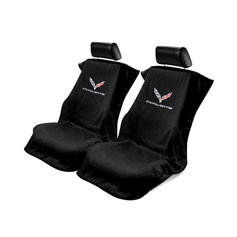 Seat Armour ® - Pair of Black Towel Seat Covers with Corvette C7 Logo (SA100COR7B)