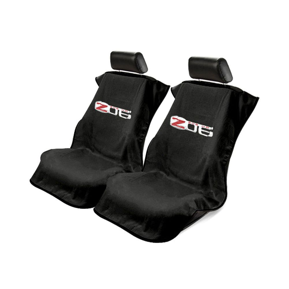 Seat Armour ® - Pair of Black Towel Seat Covers with Corvette Z06 Logo (SA100COR6ZB)