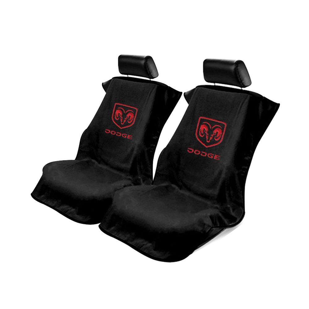 Seat Armour ® - Pair of Black Towel Seat Covers with Dodge Logo (SA100DODB)