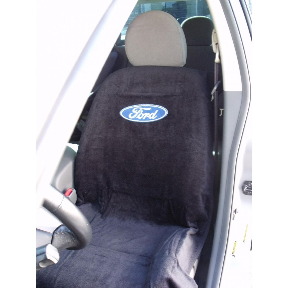 Seat Armour ® - Pair of Black Towel Seat Covers with Ford Logo (SA100FORB)