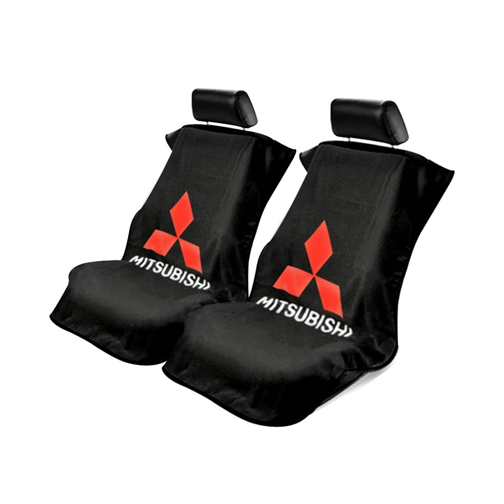 Seat Armour ® - Pair of Black Towel Seat Covers with Mitsubishi Logo (SA100MITB)