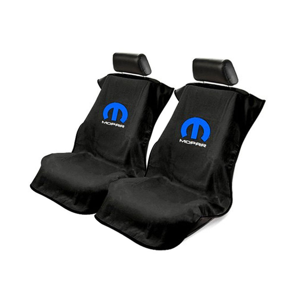 Seat Armour ® - Pair of Black Towel Seat Covers with Mopar Logo (SA100MOPB)