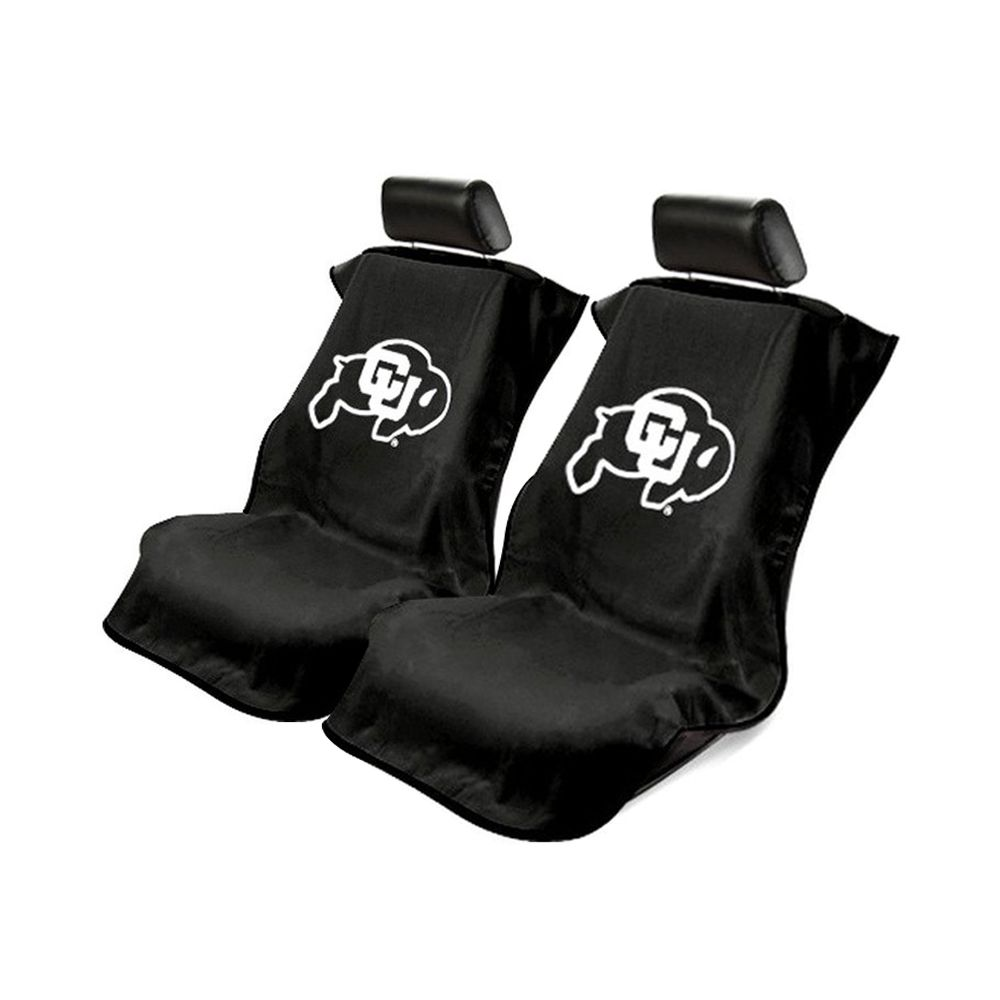 Seat Armour ® - Pair of Black Towel Seat Covers with NCAA Colorado University Logo (SA100COLOR)