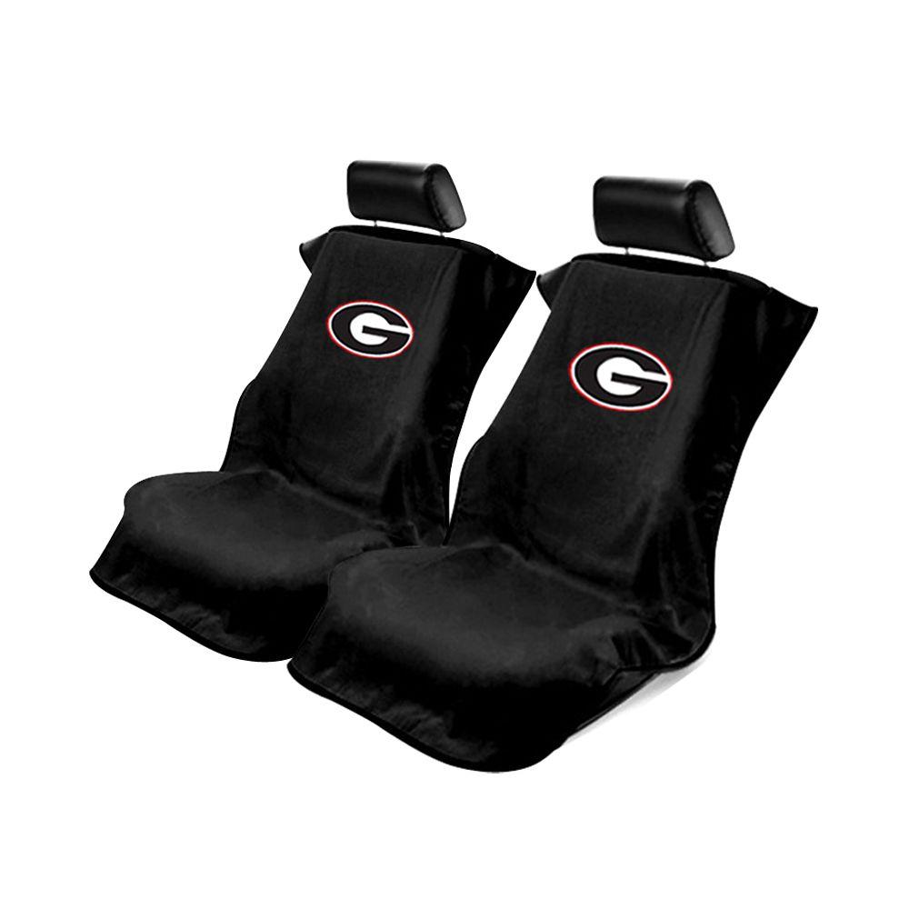 Seat Armour ® - Pair of Black Towel Seat Covers with NCAA Georgia Bulldogs Logo (SA100BULLD)