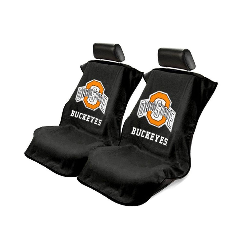Seat Armour ® - Pair of Black Towel Seat Covers with NCAA Ohio Buckeyes University Logo (SA100OHIO)