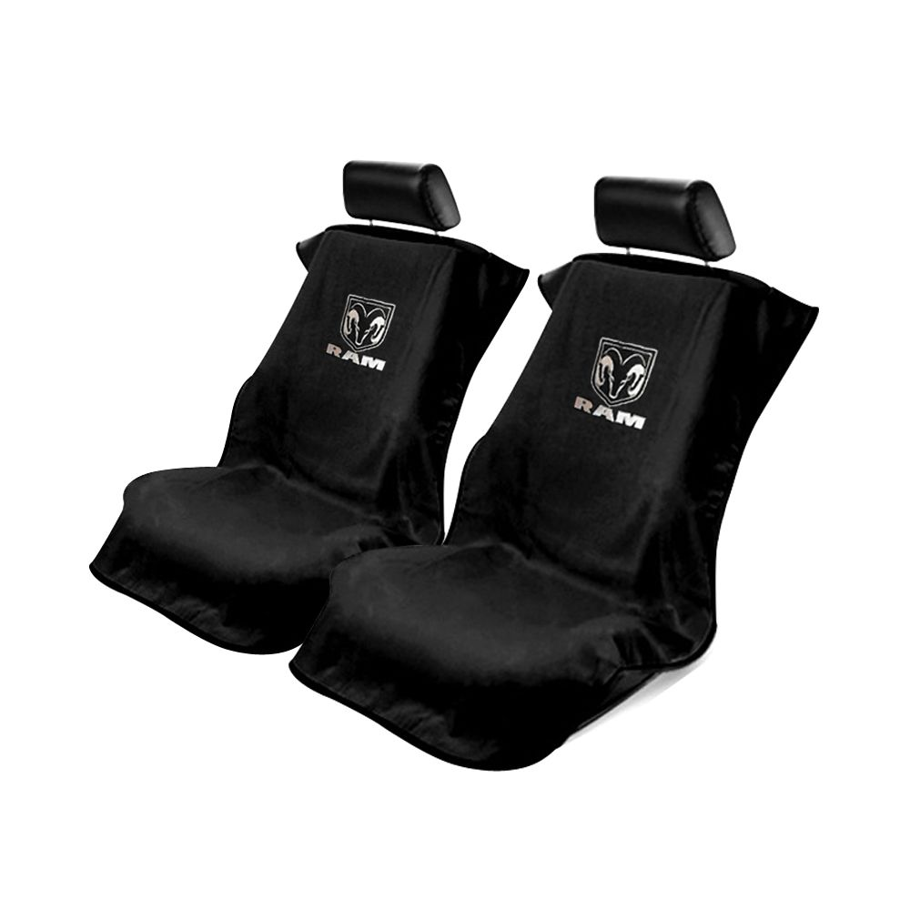 Seat Armour ® - Pair of Black Towel Seat Covers with New Dodge Ram Logo (SA100NRAMB)