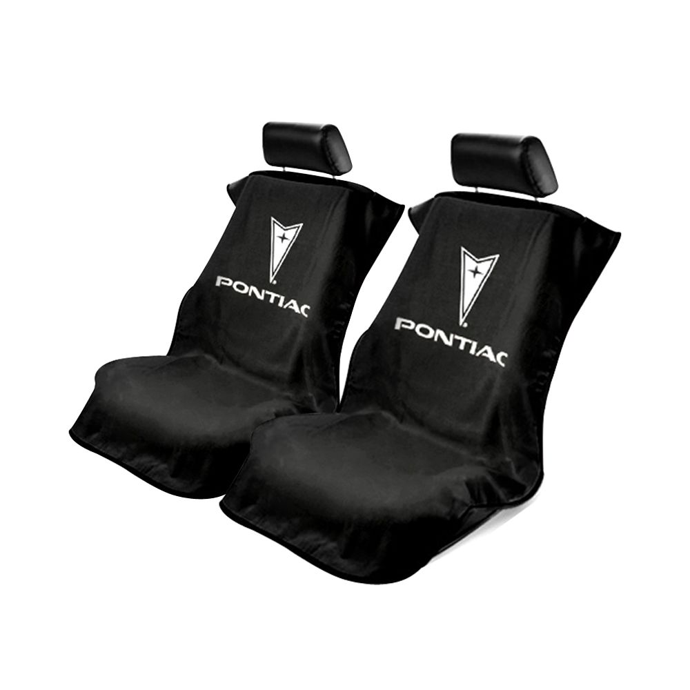 Seat Armour ® - Pair of Black Towel Seat Covers with Pontiac Logo (SA100PTCBE)