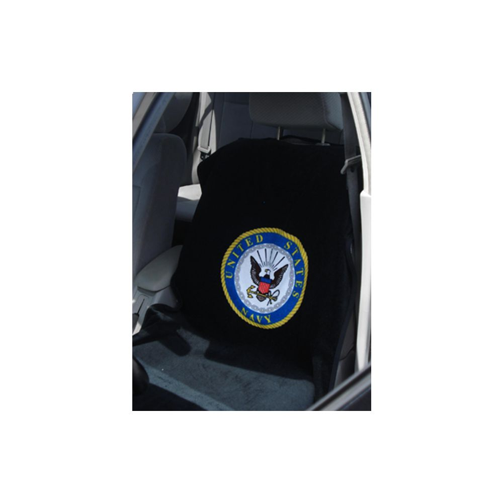 Seat Armour ® - Pair of Black Towel Seat Covers with US Navy Logo (SA200USNAVY)