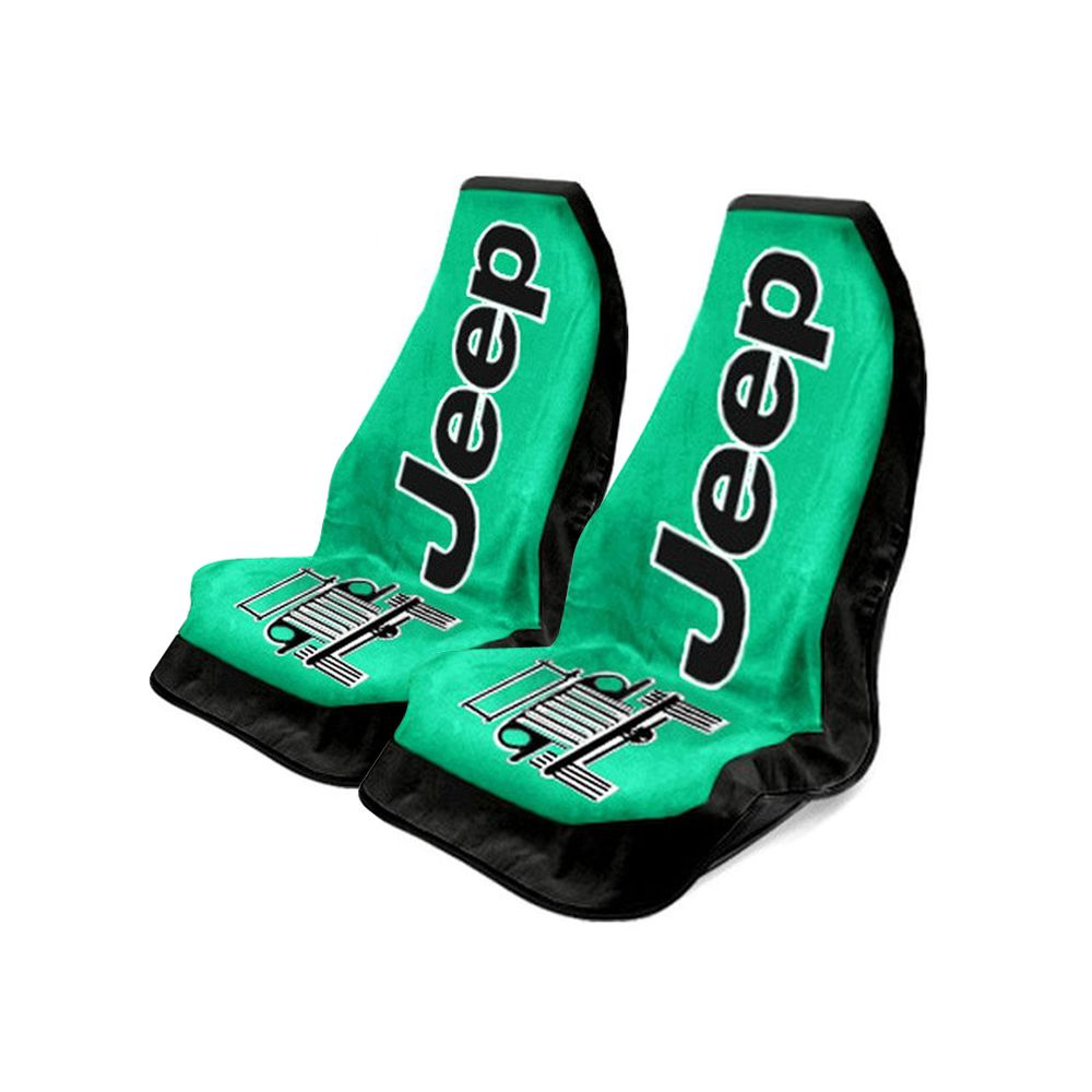 Seat Armour ® - Pair of Green Towel 2 GO Seat Covers with Jeep Wrangler Logo (T2G100G)