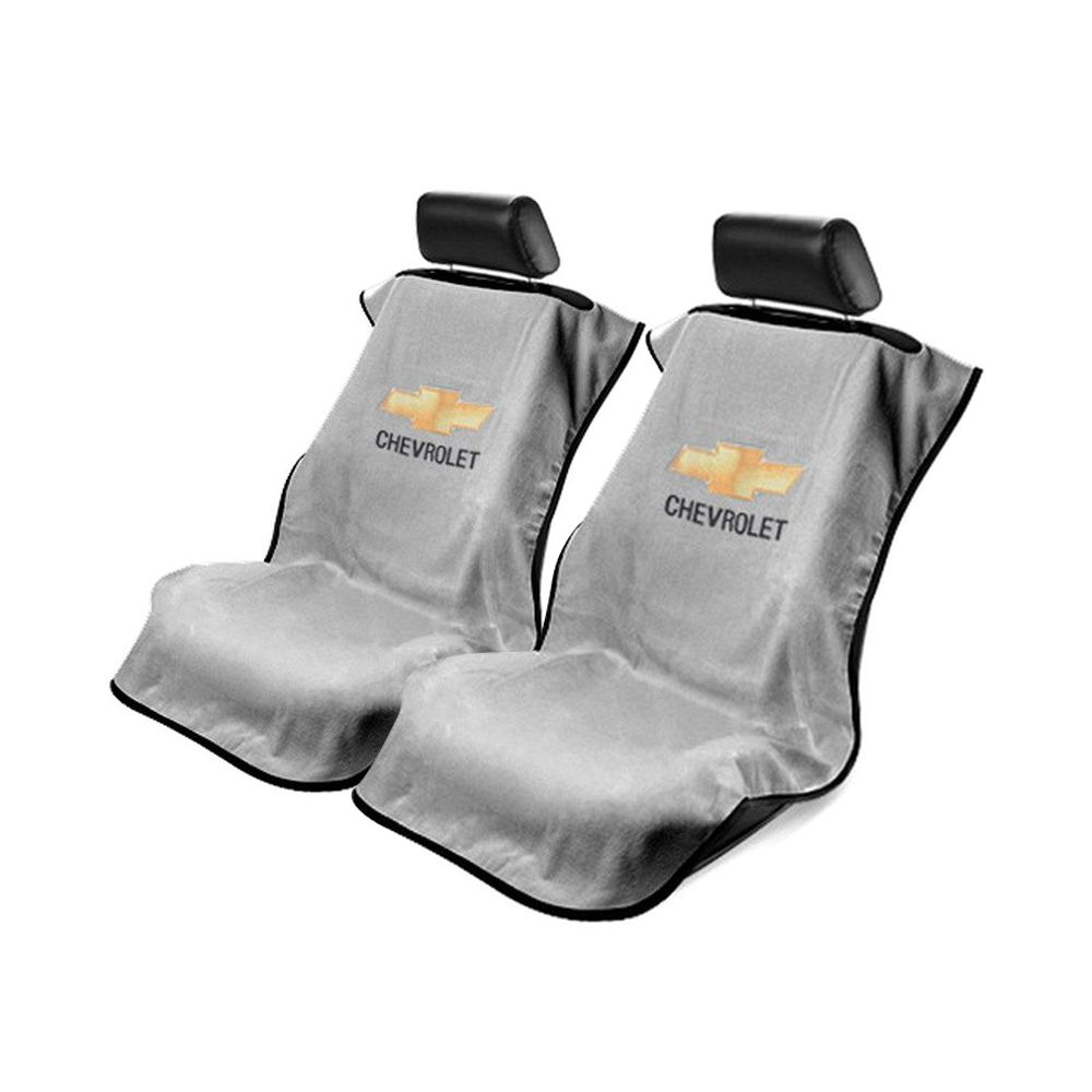 Seat Armour ® - Pair of Grey Towel Seat Covers with Chevrolet Logo (SA100CHVG)