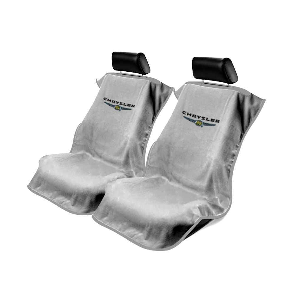 Seat Armour ® - Pair of Grey Towel Seat Covers with Chrysler Logo (SA100CHRG)