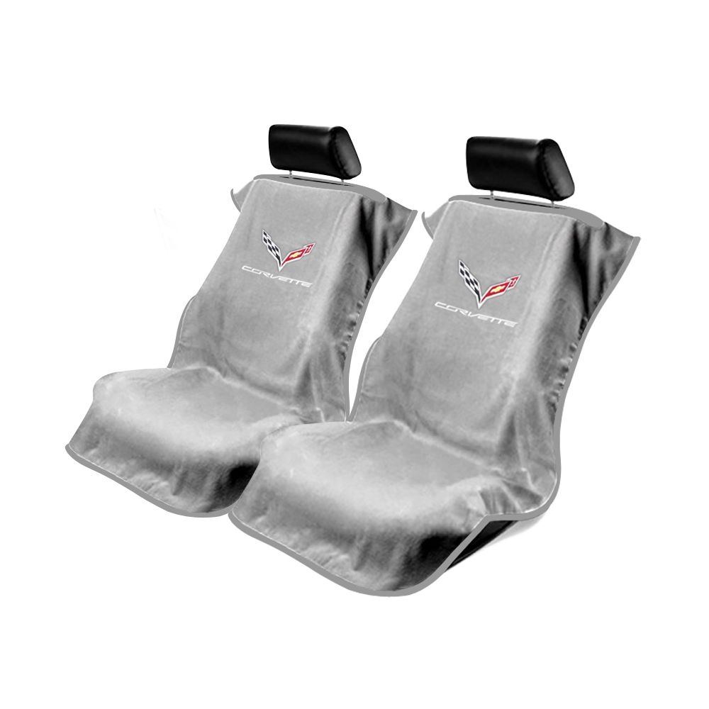 Seat Armour ® - Pair of Grey Towel Seat Covers with Corvette C7 Logo (SA100COR7G)