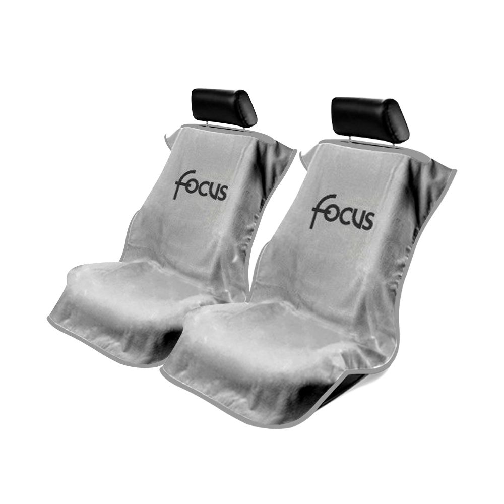 Seat Armour ® - Pair of Grey Towel Seat Covers with Focus Logo (SA100FOCG)