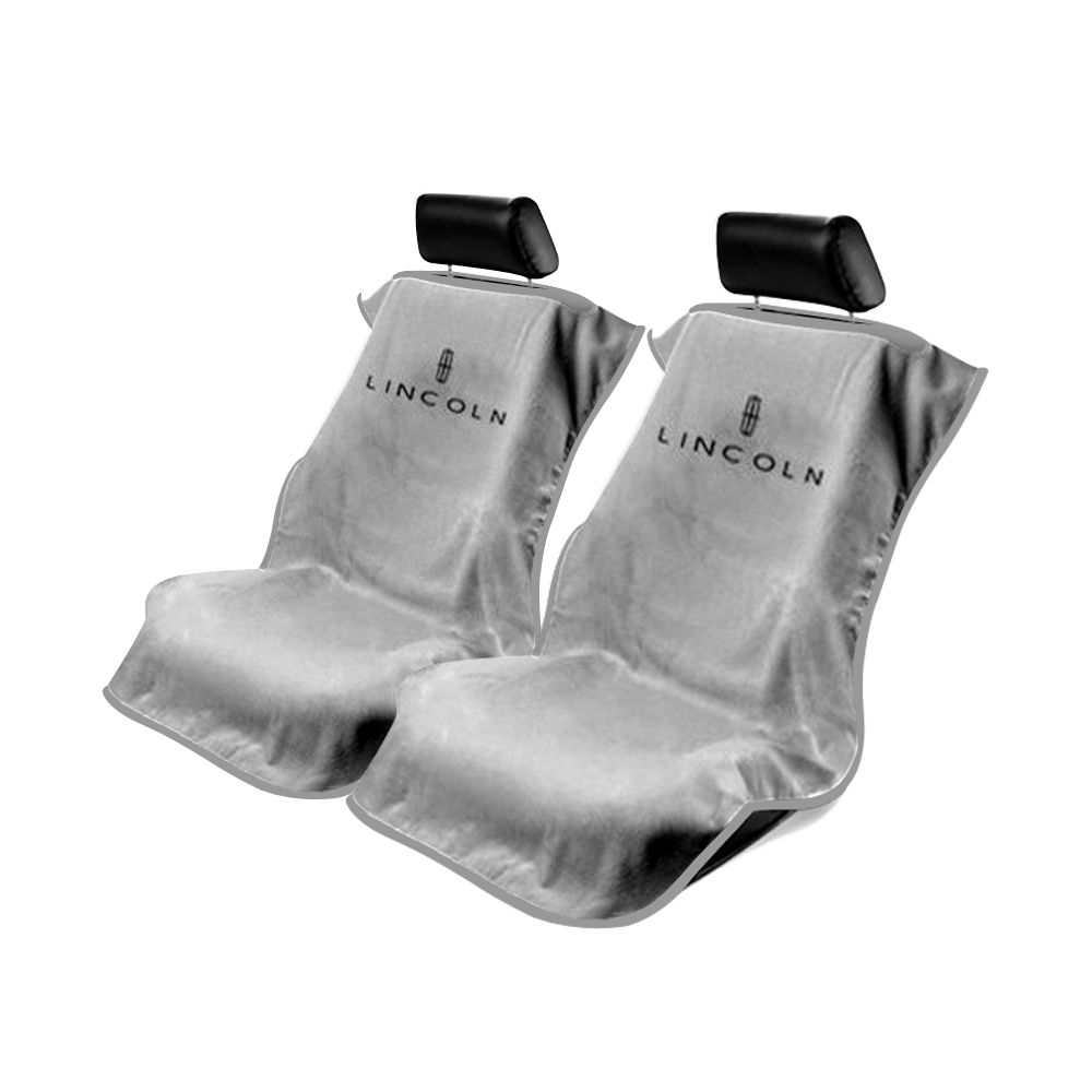 Seat Armour ® - Pair of Grey Towel Seat Covers with Lincoln Logo (SA100LING)