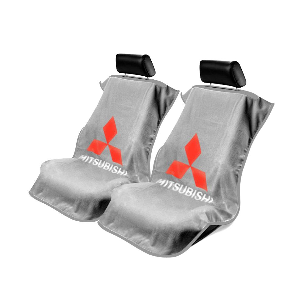 Seat Armour ® - Pair of Grey Towel Seat Covers with Mitsubishi Logo (SA100MITG)