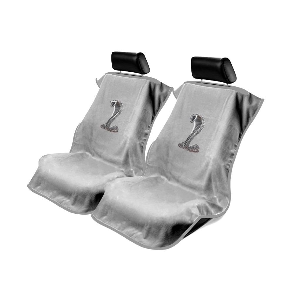 Seat Armour ® - Pair of Grey Towel Seat Covers with Mustang Cobra Logo (SA100COBG)