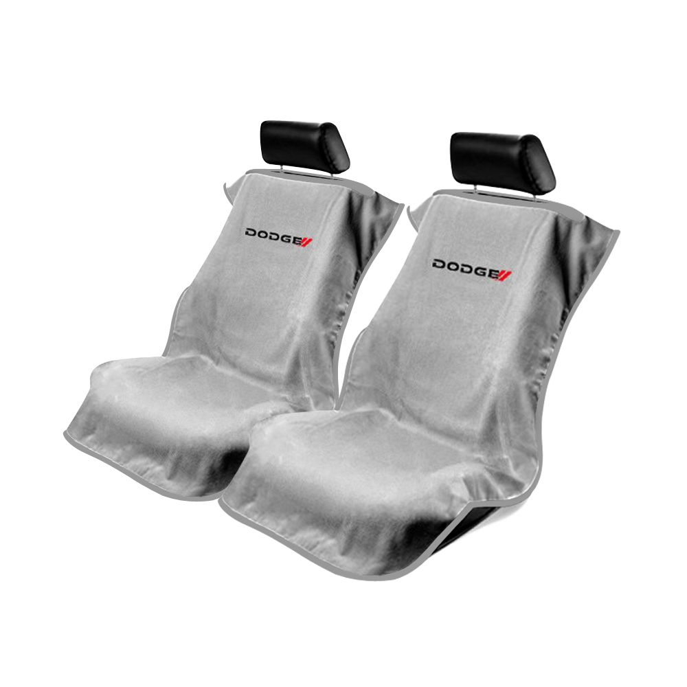 Seat Armour ® - Pair of Grey Towel Seat Covers with New Dodge Logo (SA100NDODG)