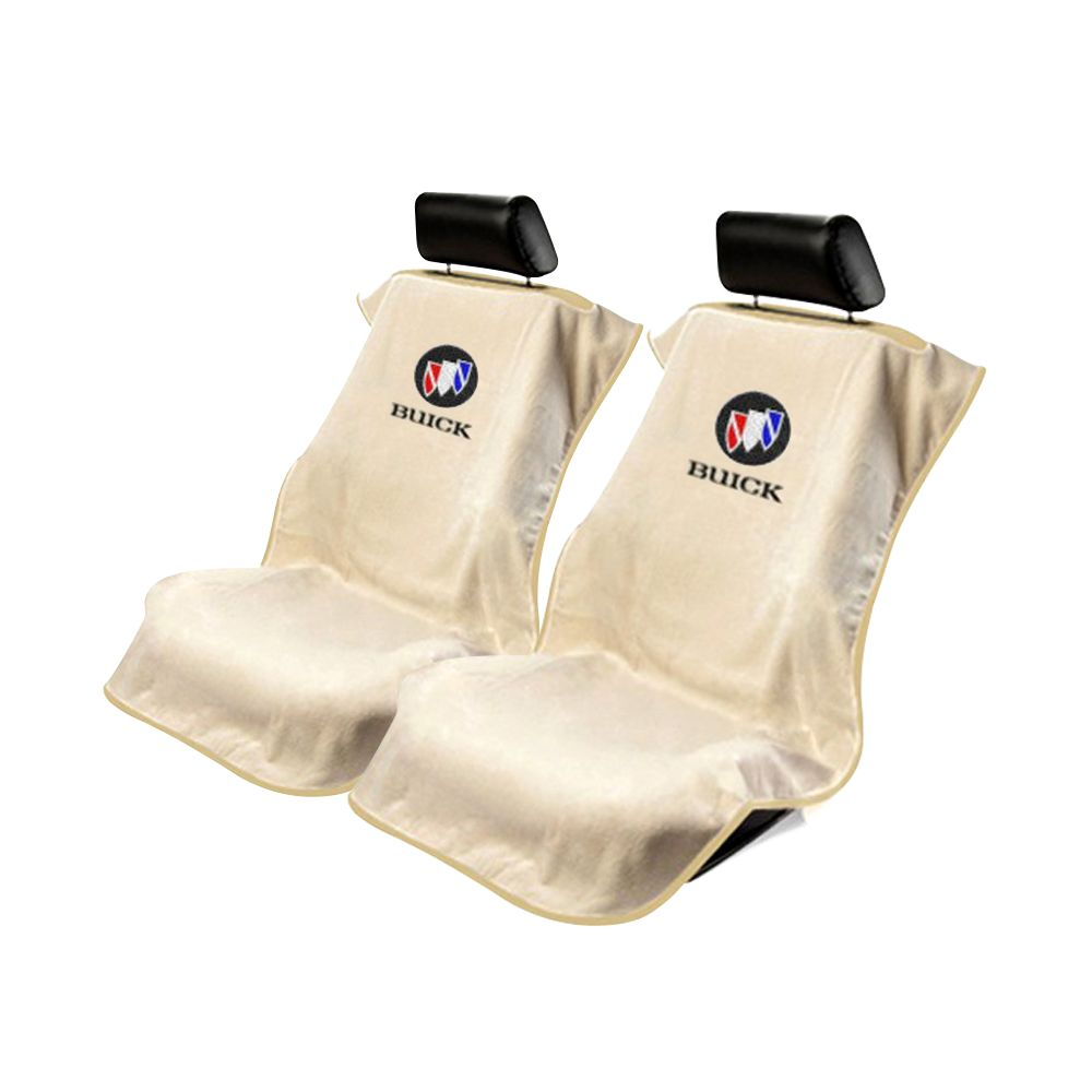 Seat Armour ® - Pair of Tan Towel Seat Covers with Buick Logo (SA100BCKT)