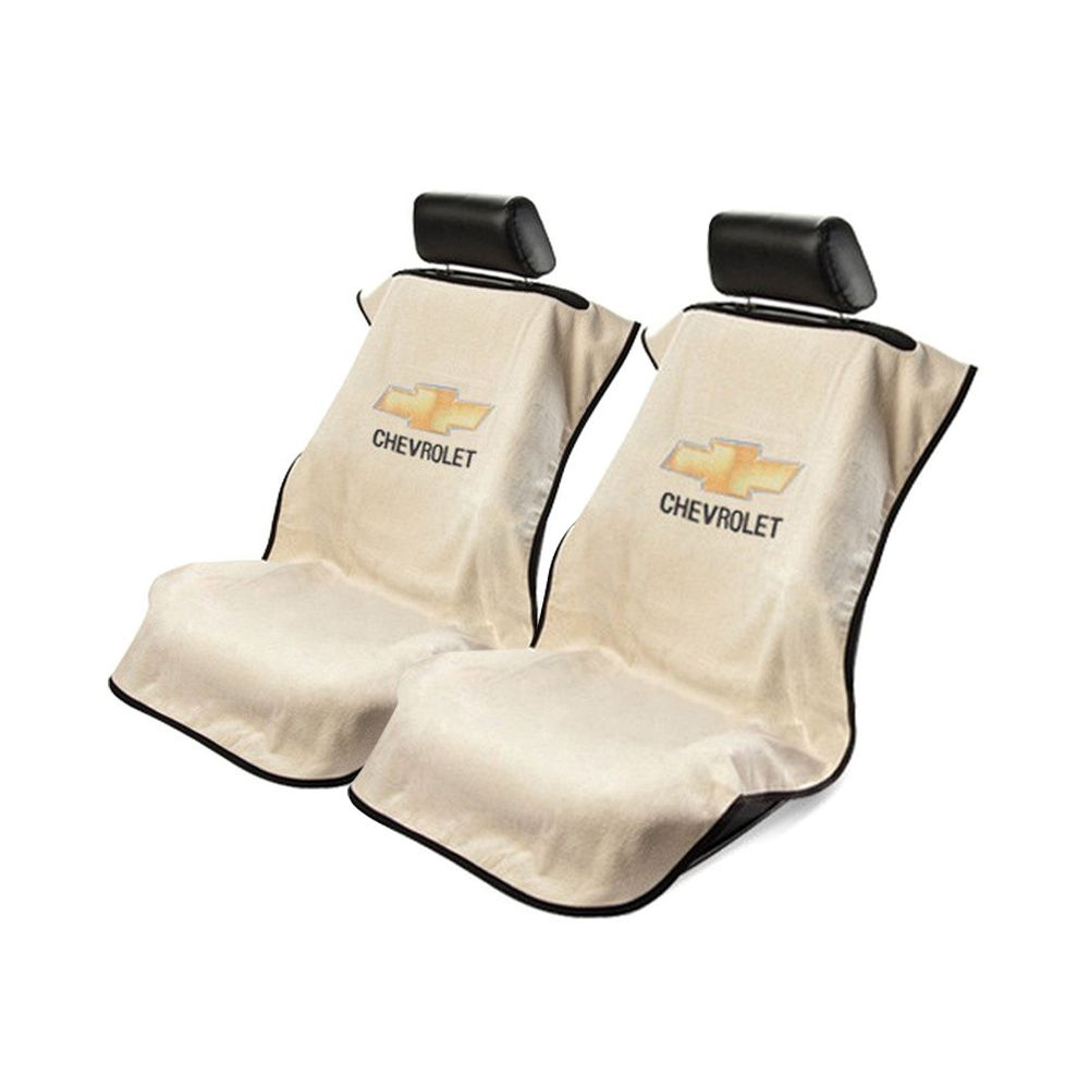 Seat Armour ® - Pair of Tan Towel Seat Covers with Chevrolet Logo (SA100CHVT)