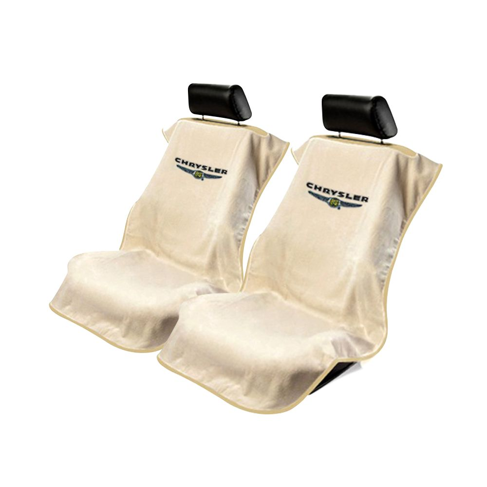 Seat Armour ® - Pair of Tan Towel Seat Covers with Chrysler Logo (SA100CHRT)
