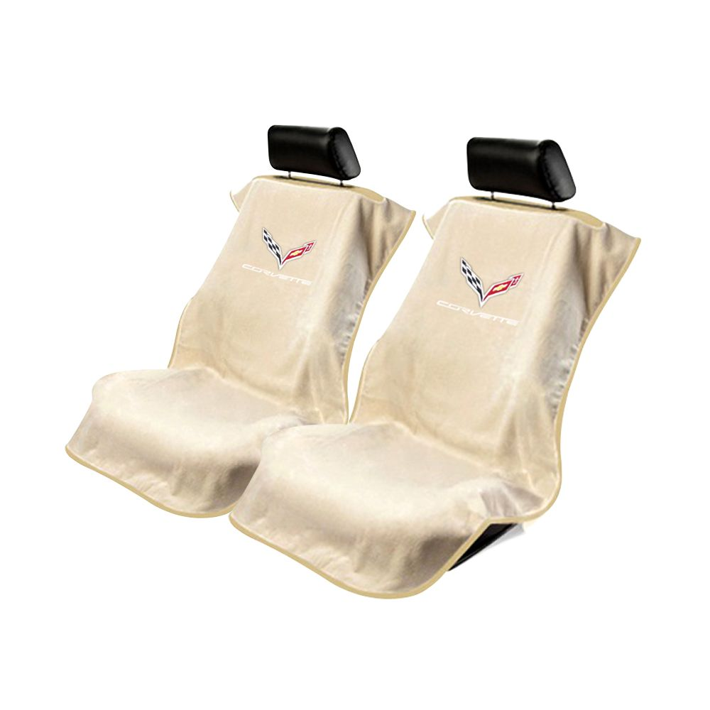 Seat Armour ® - Pair of Tan Towel Seat Covers with Corvette C7 Logo (SA100COR7T)
