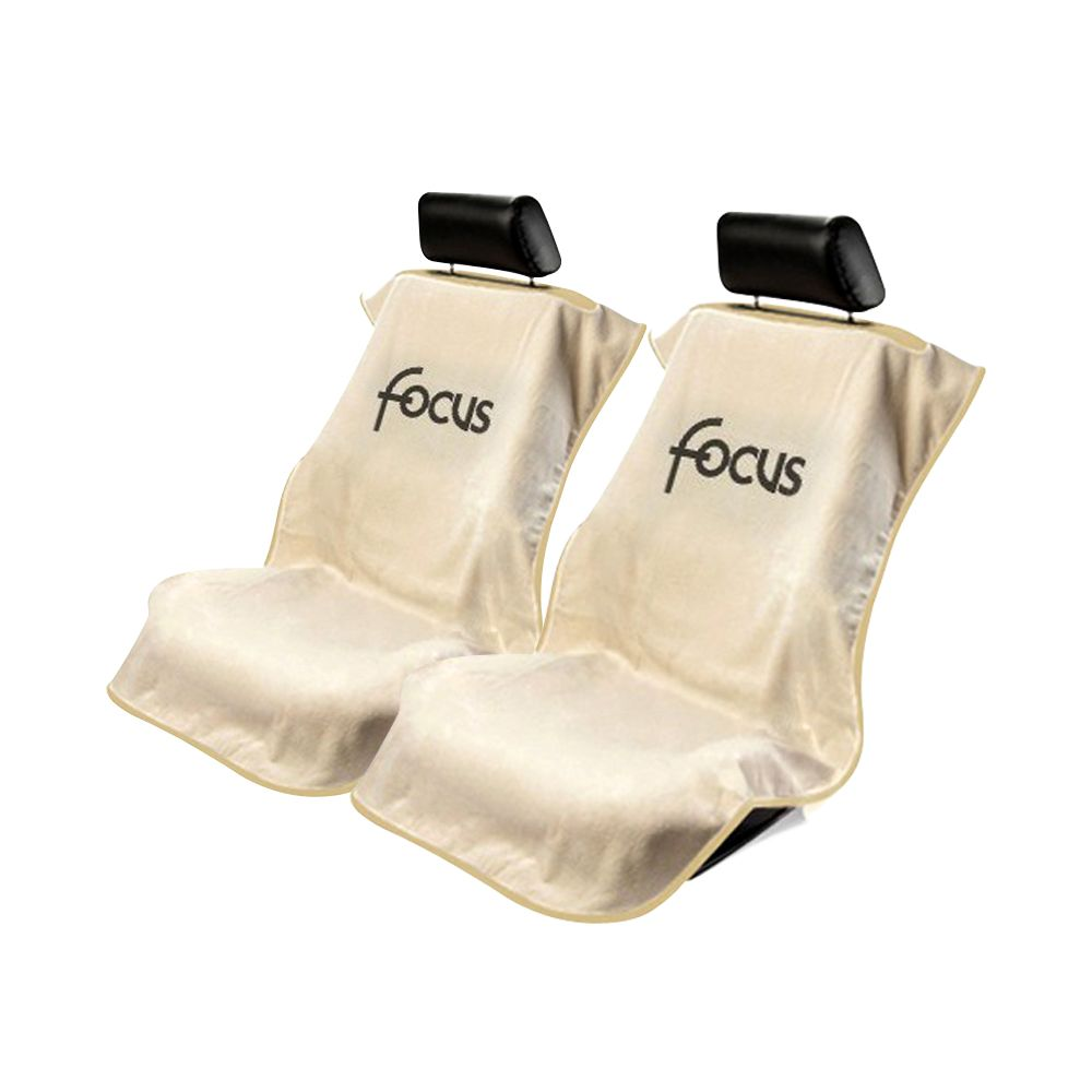 Seat Armour ® - Pair of Tan Towel Seat Covers with Focus Logo (SA100FOCT)