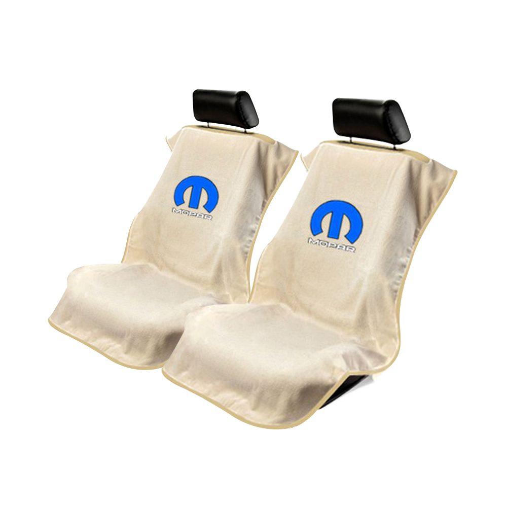 Seat Armour ® - Pair of Tan Towel Seat Covers with Mopar Logo (SA100MOPT)