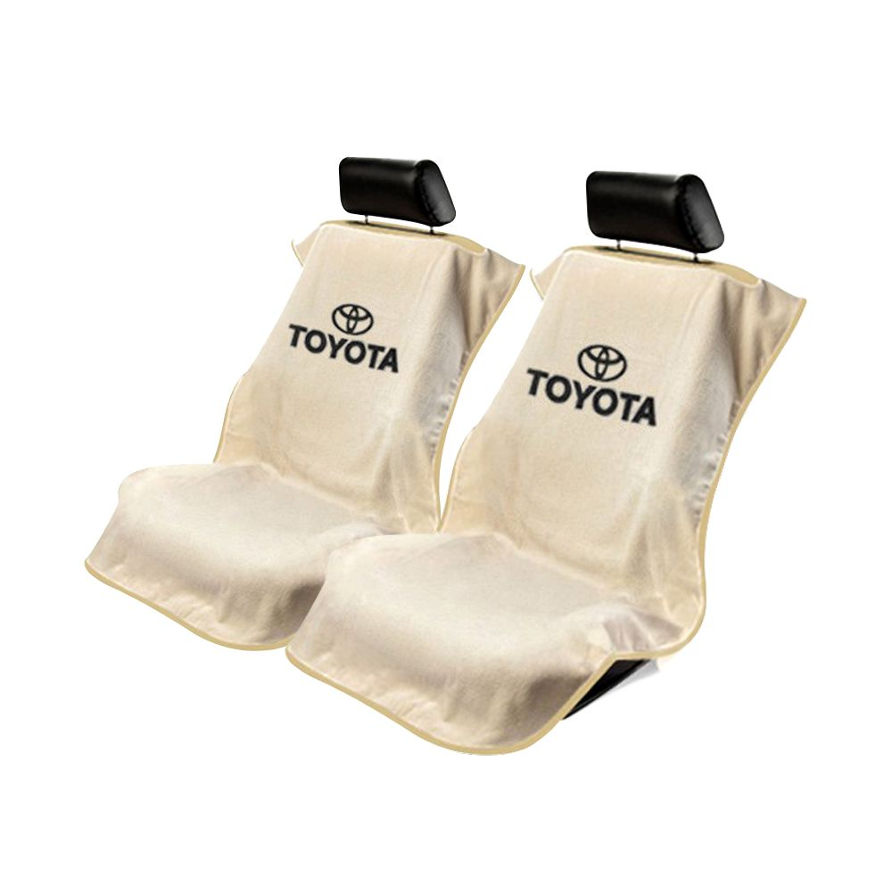 Seat Armour ® - Pair of Tan Towel Seat Covers with Toyota Logo (SA100TOYT)