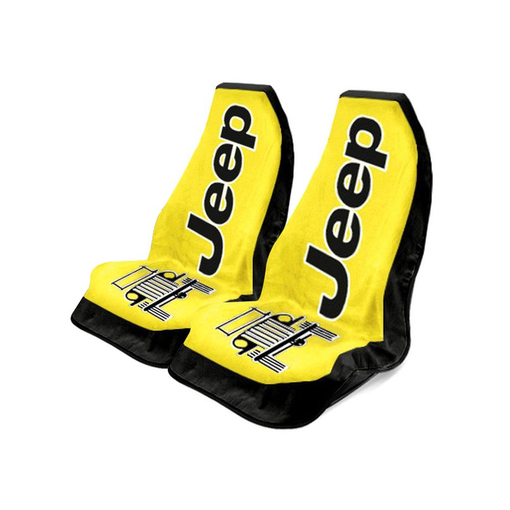 Seat Armour ® - Pair of Yellow Towel 2 GO Seat Covers with Jeep Wrangler Logo (T2G100Y)