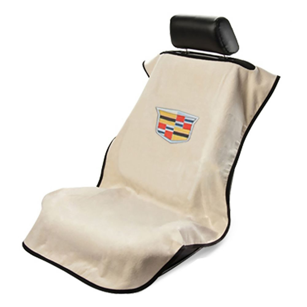 Seat Armour ® - Tan Towel Seat Cover with New Cadillac Logo (SA100NCADT)