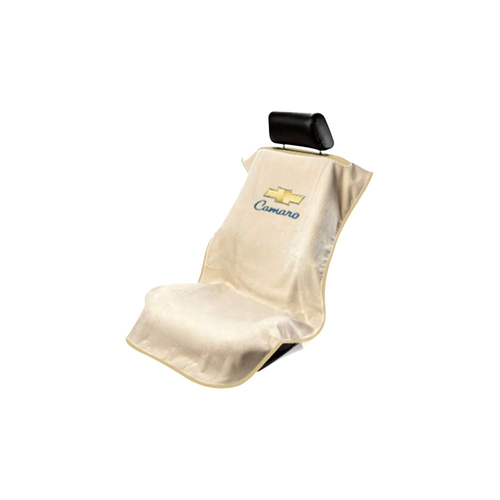 Seat Armour ® - Tan Towel Seat Cover with Chevy Camaro Logo (SA100CAMT)