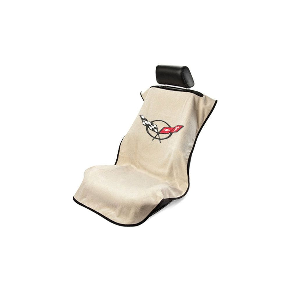 Seat Armour ® - Tan Towel Seat Cover with Corvette C5 Logo (SA100COR5T)
