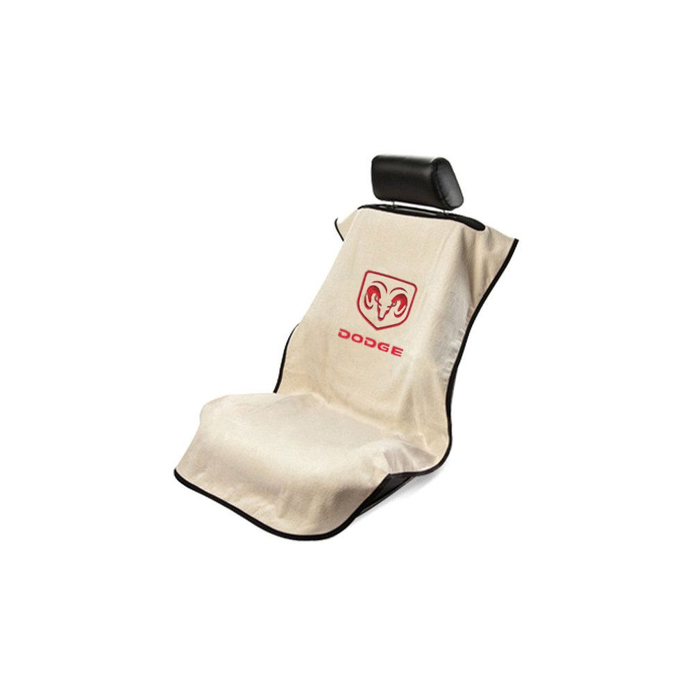 Seat Armour ® - Tan Towel Seat Cover with Dodge Logo (SA100DODT)