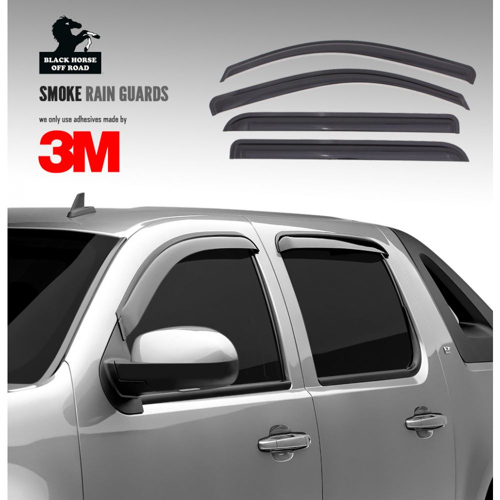Black Horse Off Road ® - Smoke Rain Guards (14MBGL-13)